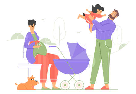 Happy family for a walk. A pregnant mom is sitting on a bench, a baby carriage, a dad is playing with a little daughter