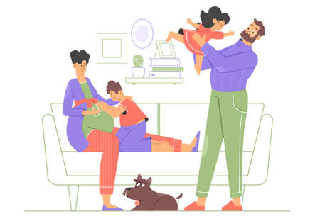 Happy family in the living room. Pregnant mother sitting on couch, son touching tummy. Stock Illustratie