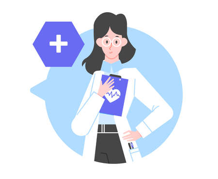 Doctor character woman. A nurse in a white coat in a speech bubble.