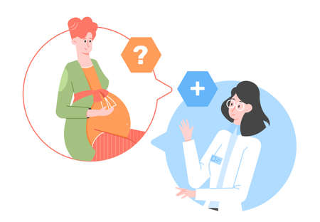Pregnant cute woman expectant mother at the consultation with the doctor. Stock Illustratie