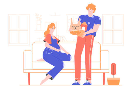 Family in the living room. Pregnant mother-to-be sitting on the couch. Stock Illustratie