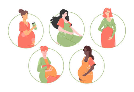 Set of pregnant women of different nationalities. Mothers-to-be.