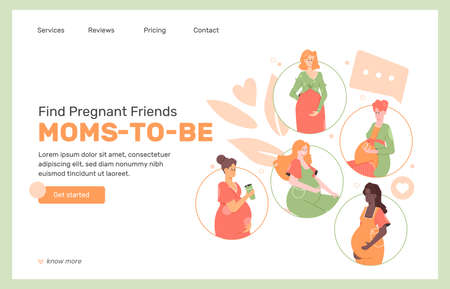 Concept design of the landing page of the service for communication of pregnant women.