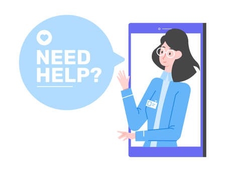 Cute woman doctor on the smartphone screen. Text in speech bubble need help. Stockfoto - 168548539