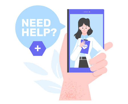 Hand hold smartphone with a cute woman doctor on the screen.