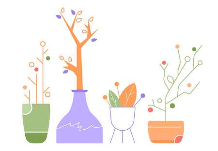 Set of plants in pots. Botanical decor. Stock Illustratie