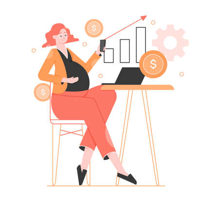 Pregnant woman behind a laptop with smartphones in her hands. Stock Illustratie