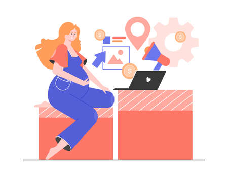 Pregnant woman with laptop surrounded by marketing icons.