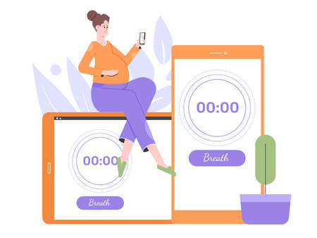 Pregnant woman uses a mobile app to count contractions. Stock Illustratie