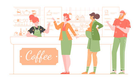 Queue of people in the coffee shop. Businesswoman, man and pregnant woman. Stock Illustratie