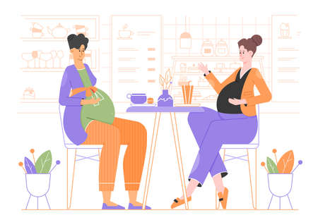 Two cute pregnant women are sitting in a cafe. Meeting of two friends.