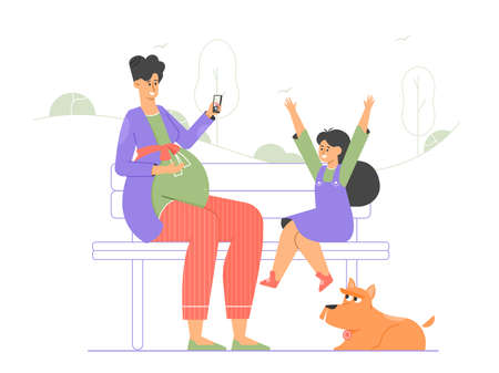 Pregnant mommy and her daughter are sitting on a bench in the park. Stock Illustratie