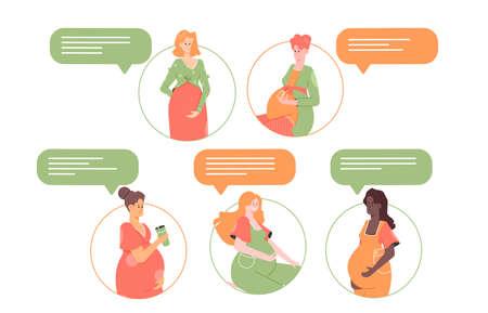 Community of pregnant women. Stock Illustratie