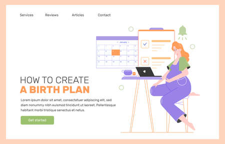 Pregnancy planning. Landing page concept. Stock Illustratie