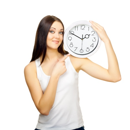 The girl with clock on a shoulder on a white background photo