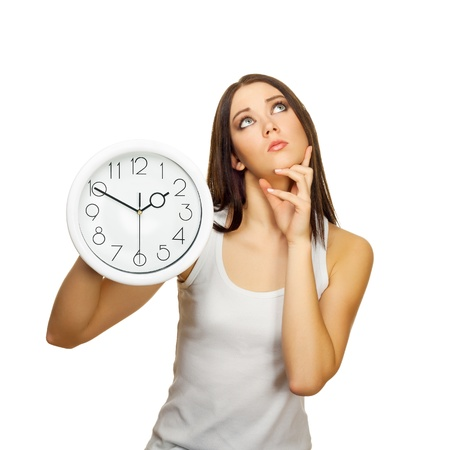 The girl with clock has reflected, on a white background Stock Photo