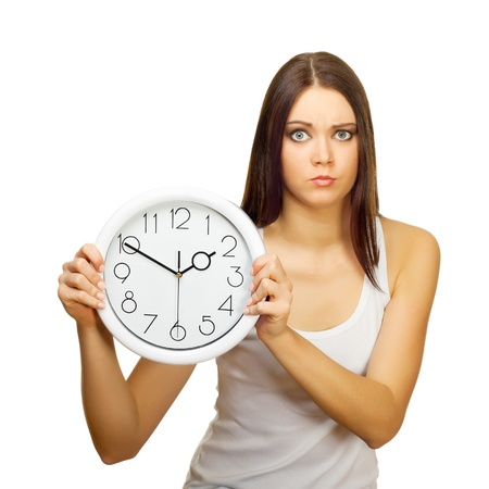 The girl with clock becomes angry, on a white background Stock Photo