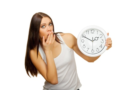 The girl with clock becomes surprised, on a white background