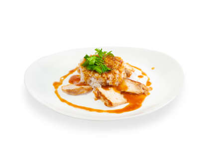 Rice with meat with sauce on a white background