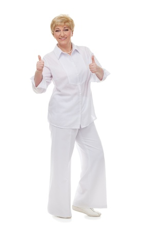 the well groomed: The woman shows that all is  well,  isolated against white background