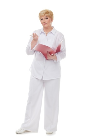 The woman with  a folder  isolated against white background