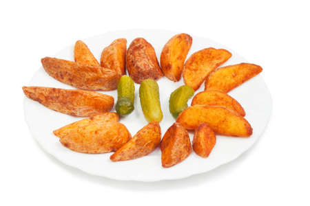 Fried potato with pickles isolated on white background