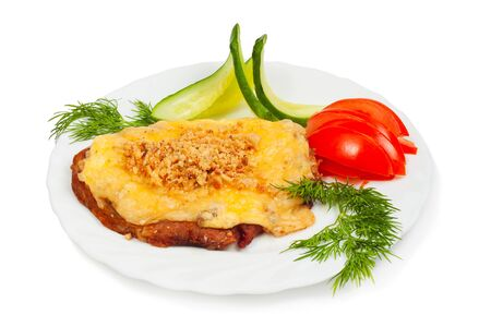 meat with cheese and nuts isolated on white background Stock Photo