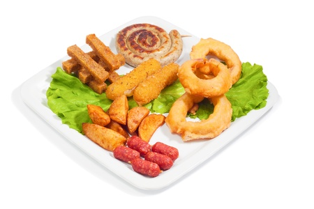 fried snack: mix fried snack on a white plate