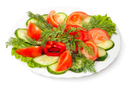 vegetable salad isolated on white background photo