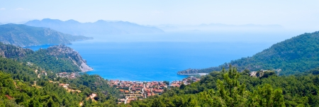 panorama of the sea gulf on top of the mountain in high resolution  Marmaris  Turkey  photo