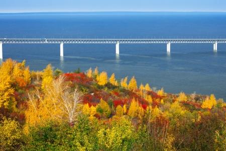 Bridge across the Volga River. Russia. Ulyanovsk Stock Photo - 16239208