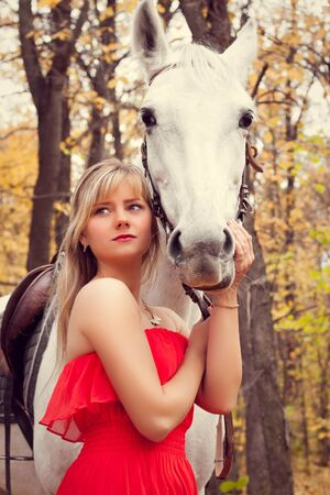 young woman taking care of her white horse photo