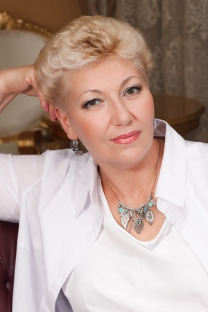 elegant blond senior with jewelry
