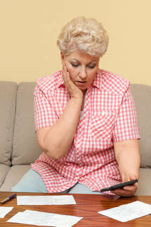woman is upset and afflicted her debts