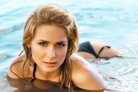 Beautiful blond woman on the beach. monochrome Stock Photo