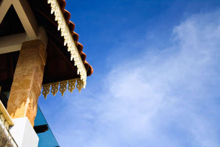 Partial roof carvings with the sky as background in kuala terengganu