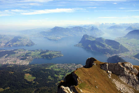 lucerne: Aerial view of Lake Lucern from the top of Mount Pilatus Stock Photo