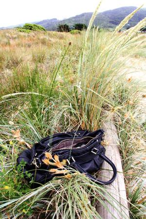 left behind: An abandoned handbag in grassland