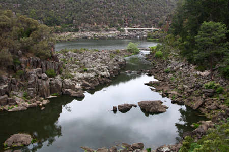 View of Cataract Gorge and First Basin with Suspension Bridge at the far end