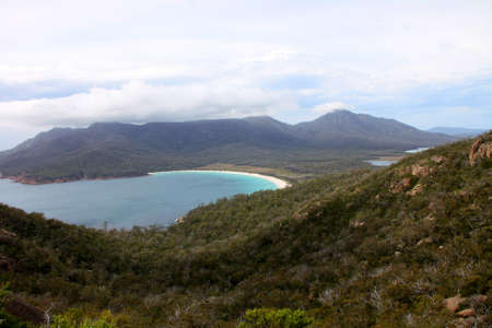 Wineglass Bay surrounded by mountains