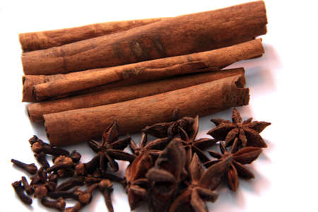 Spices cinnamon sticks, anise and cloves