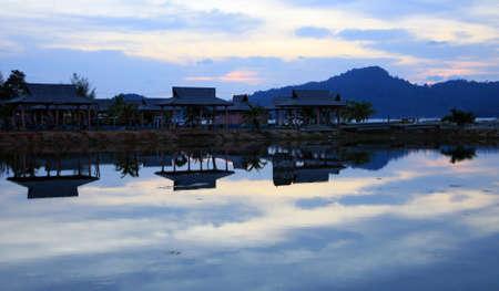 Sunset at Teluk Batik with beautiful reflection, Perak, Malaysia