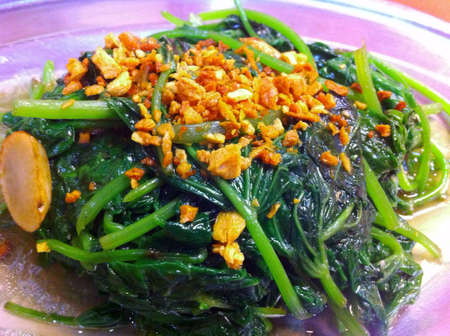 sweet potato leaves stir fry with garlic Asian style