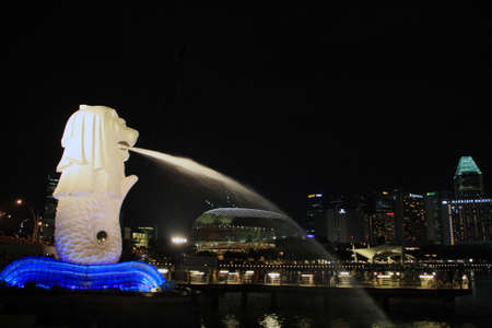 Singapore Merlion skyline at night