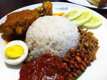 lemak: Nasi lemak local Malaysian food