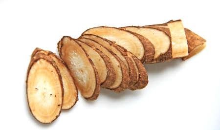 Slices of fresh Burdock root