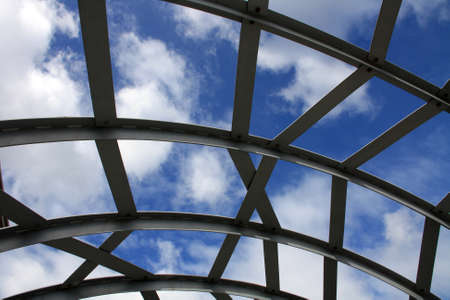 webb: Steel architecture of Webb Bridge against the sky, Dorklands, Melbourne, Australia
