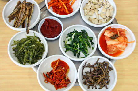 A variety of Korean side dishes Stock Photo