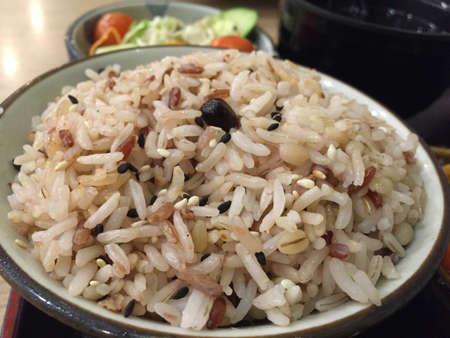 A bowl of healthy multigrain rice Stock Photo