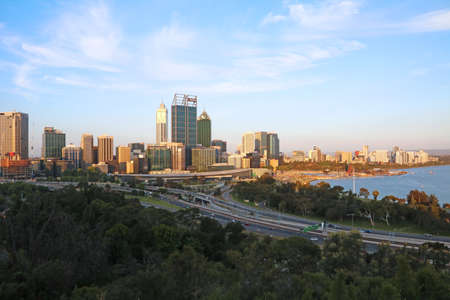 View of Perth City Skyline from Kings Park at dusk